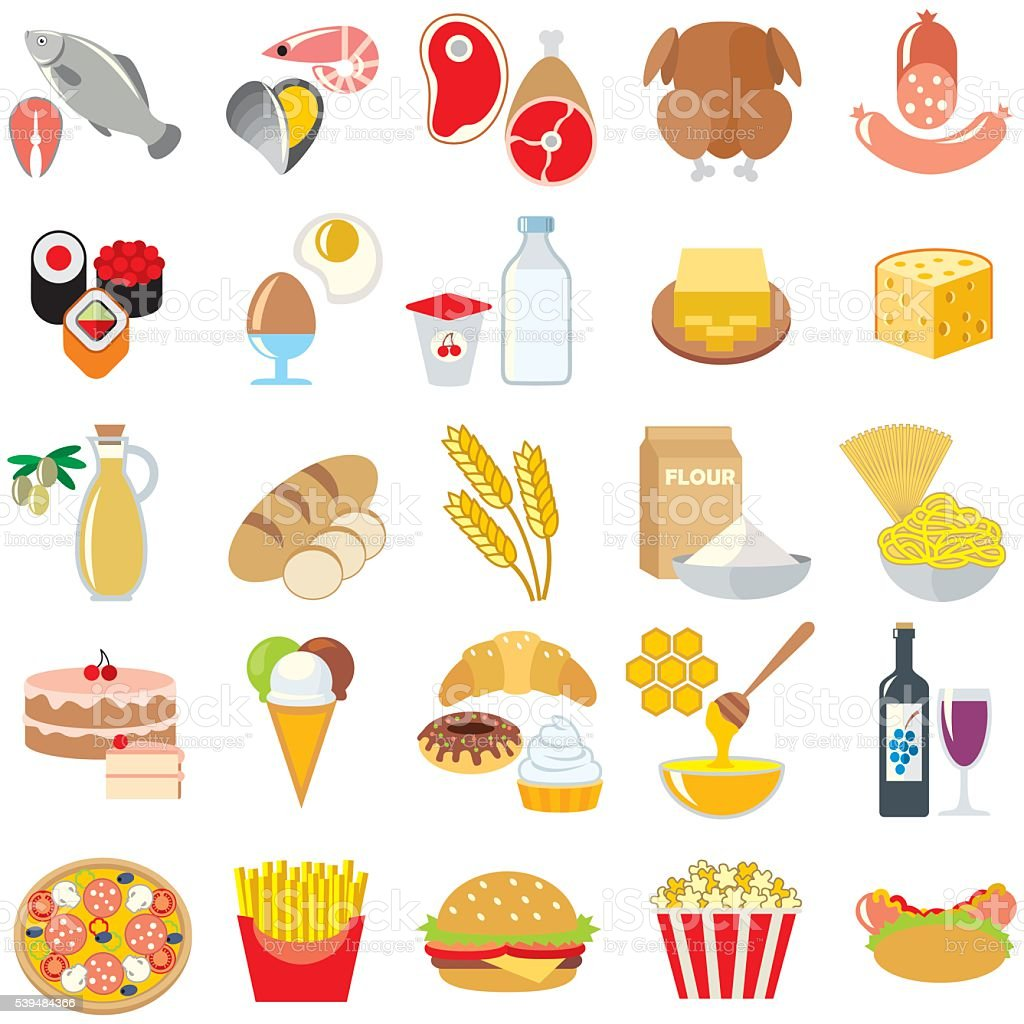 Food  icons set isolated vector art illustration