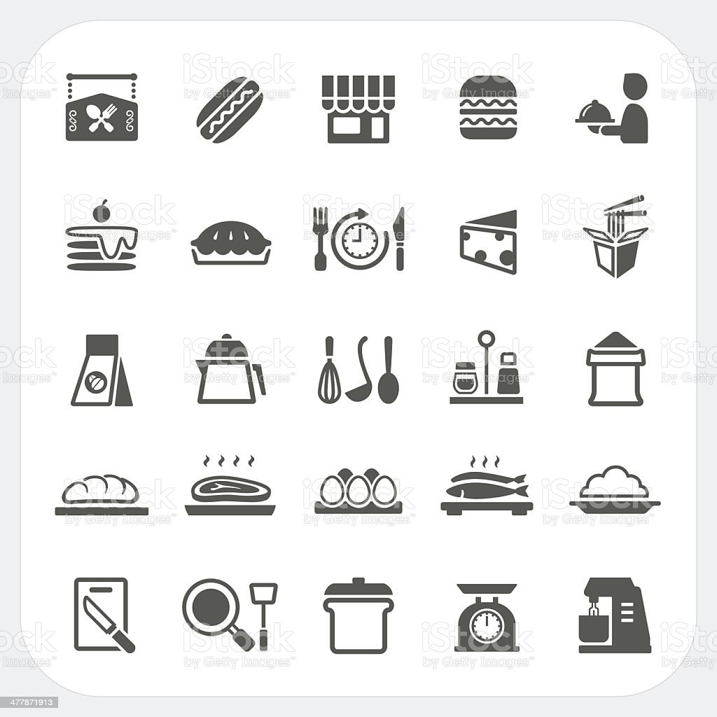 Food icons set royalty-free stock vector art