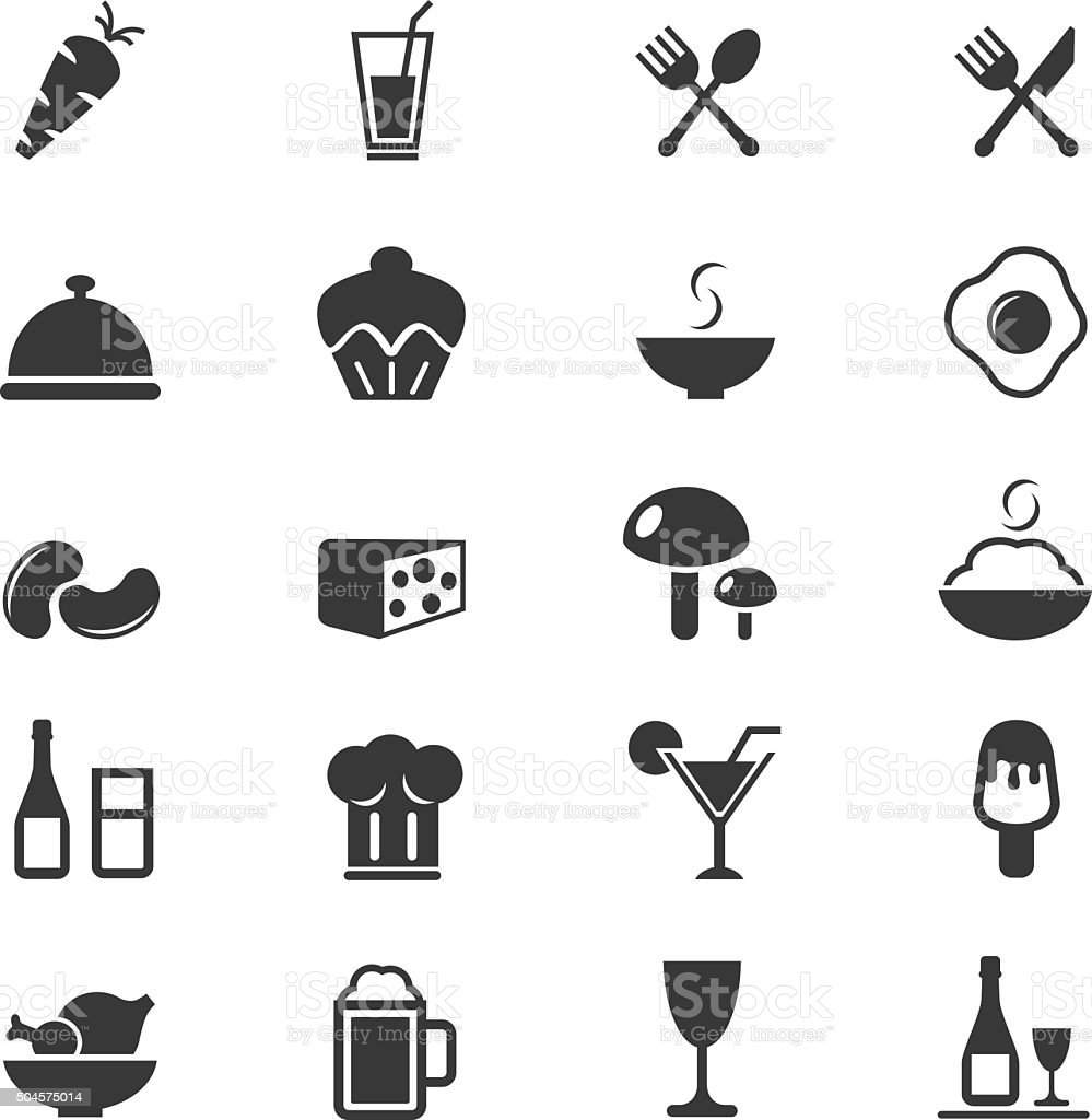 Food Icons set vector art illustration