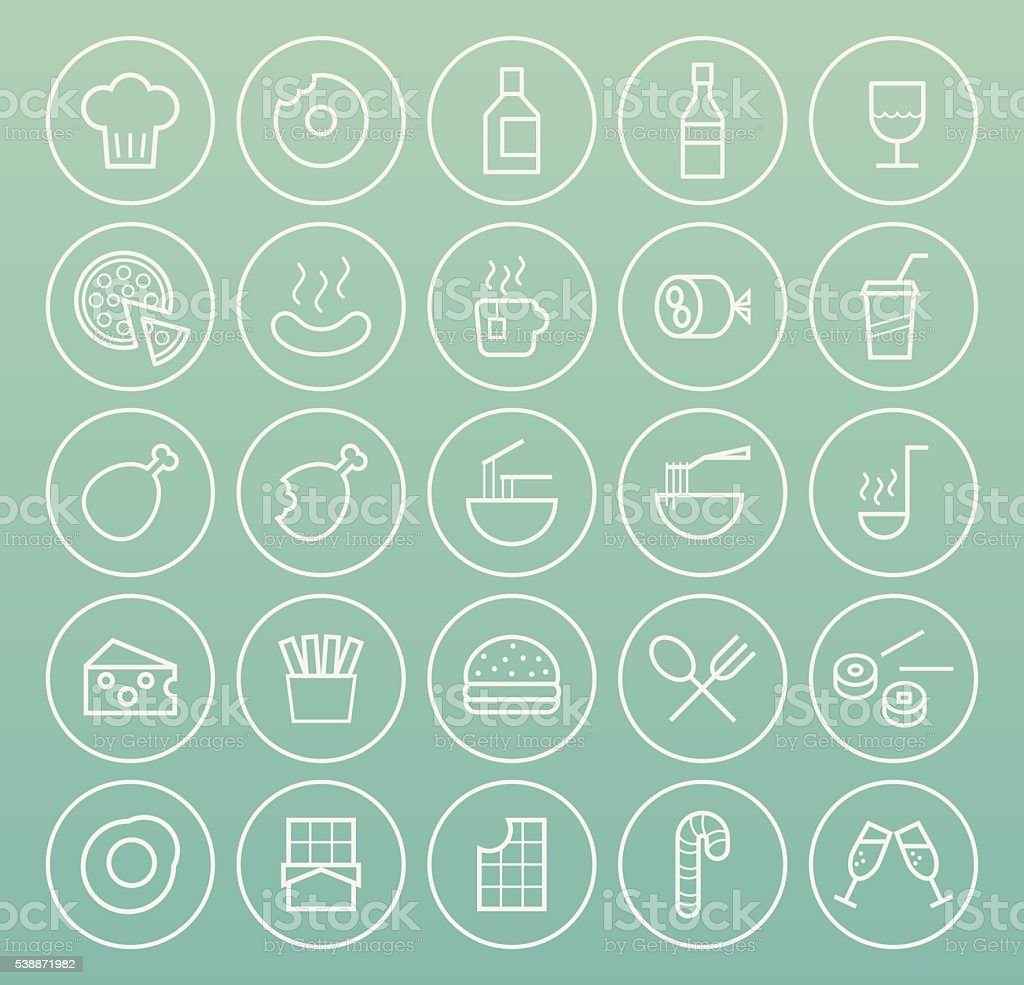 Food Icons. vector art illustration