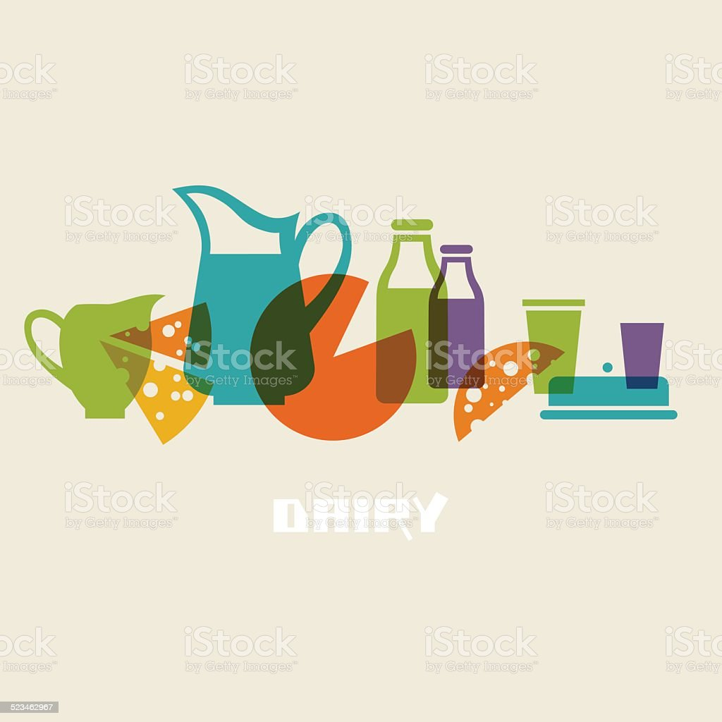 Food icons with dairy products vector art illustration