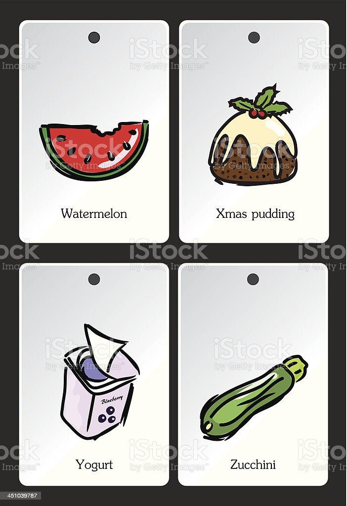 Food illustration vocabulary card royalty-free stock vector art