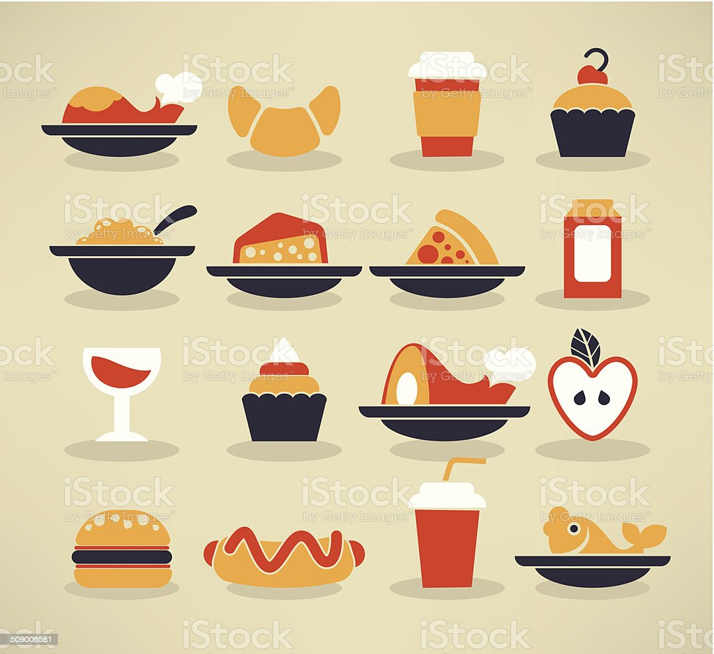 food images in info-graphic style vector art illustration