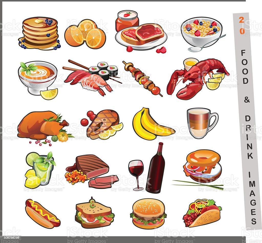 food images vector art illustration