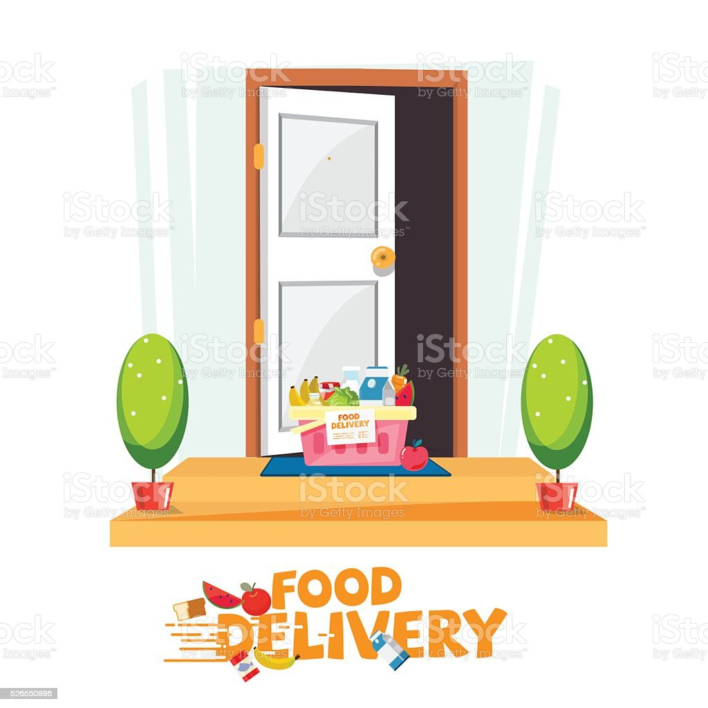 ... food in basket in front of the door. delivery food service vector art illustration ...