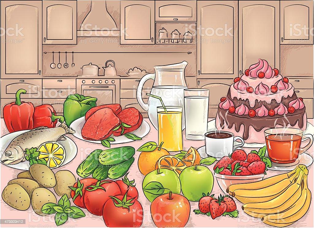 Food in kitchen vector art illustration