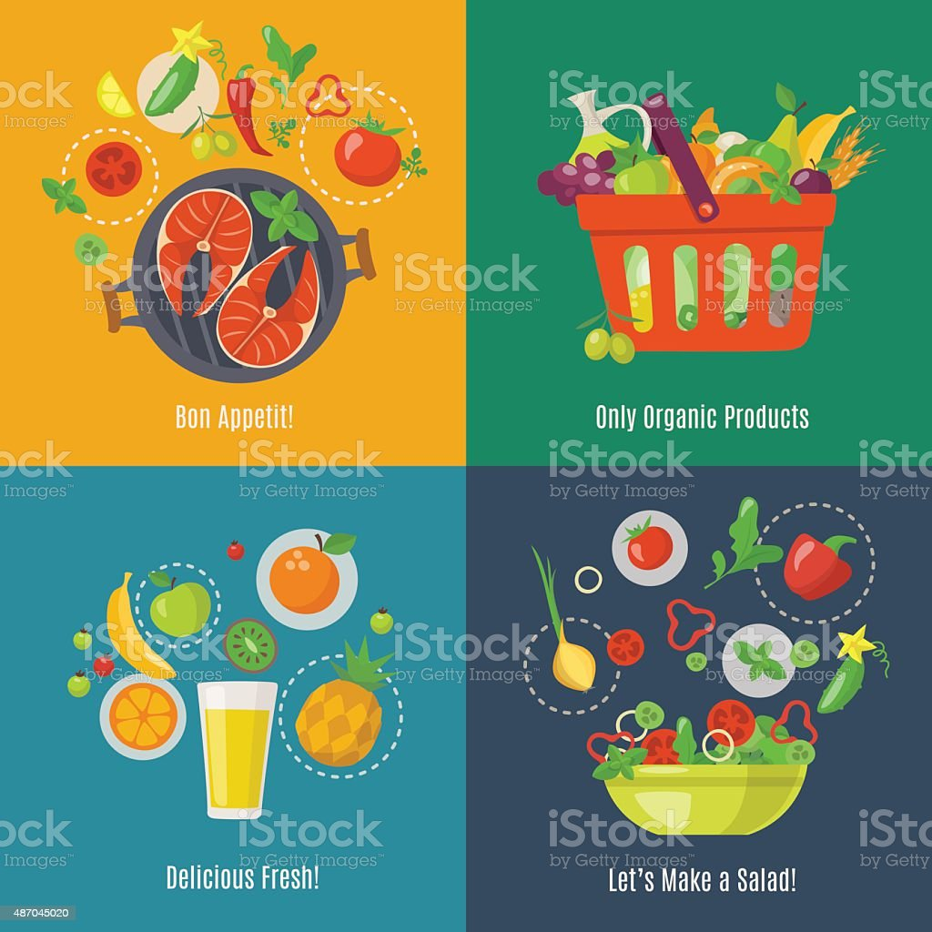 Food infographic. Flat style. Shopping basket. Fruit juice. Fruit fresh. Salad infographic. vector art illustration