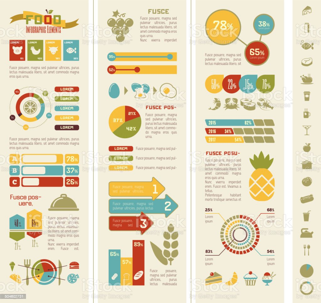 Food Infographic Template. vector art illustration