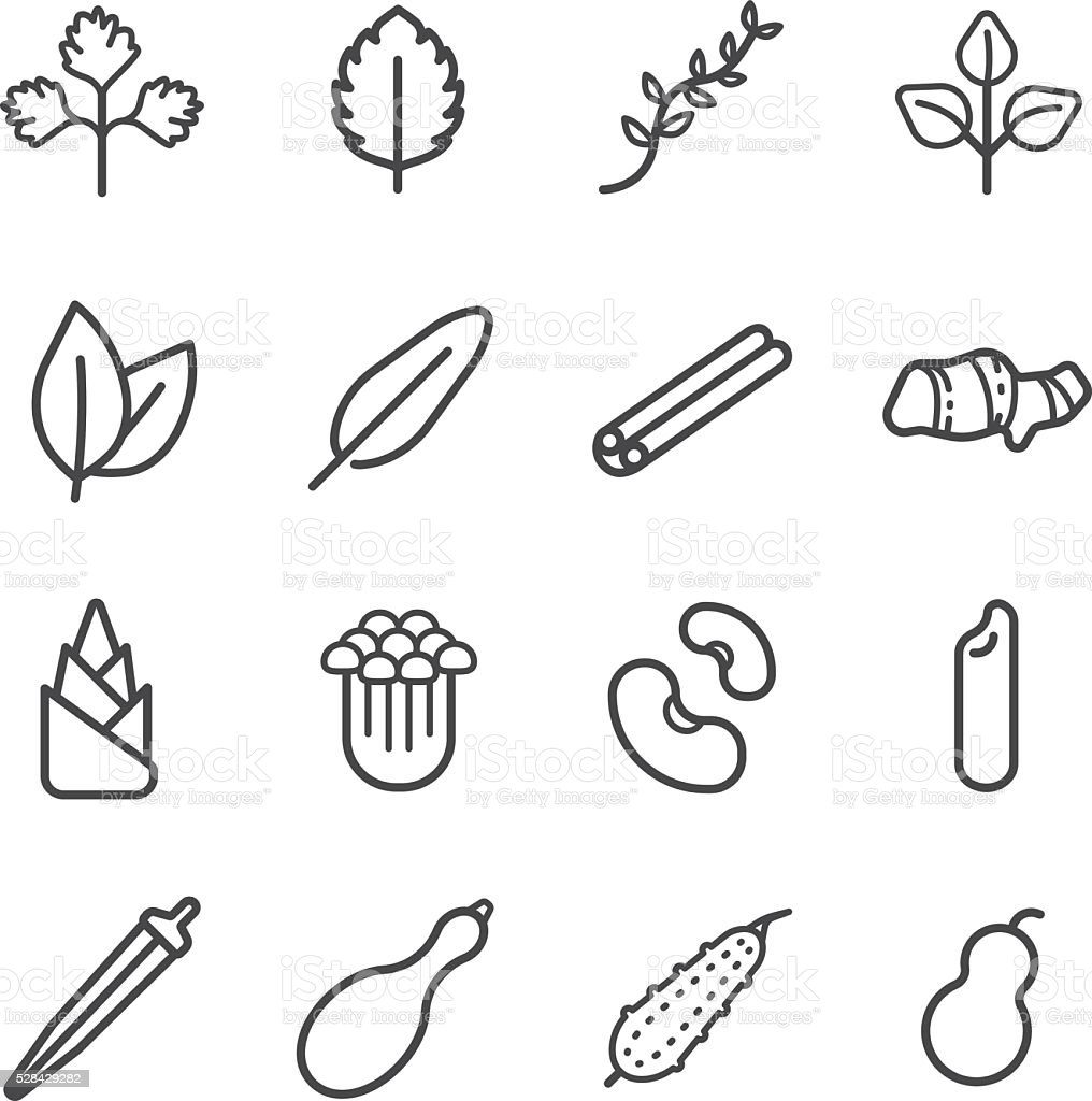 Food ingredient icons for application set 5 vector art illustration