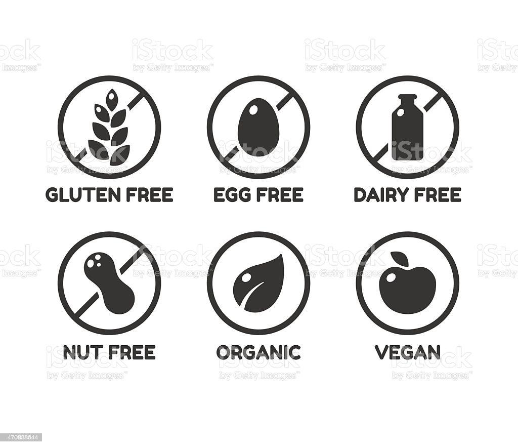 Food ingredient labels vector art illustration