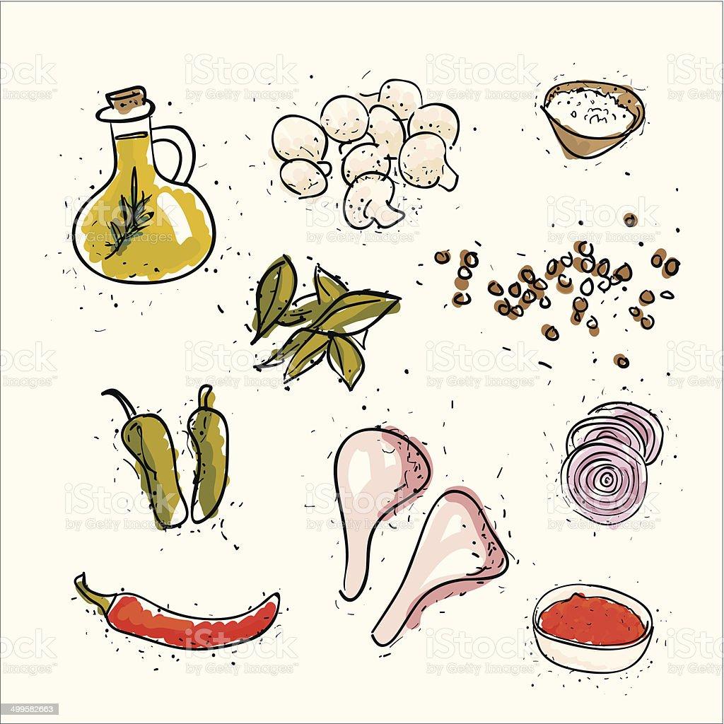 food ingredients set vector art illustration