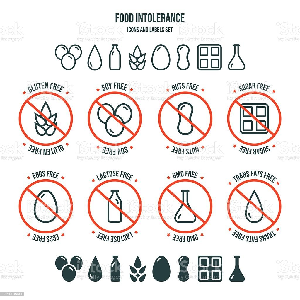 Food intolerance icons and labels set vector art illustration
