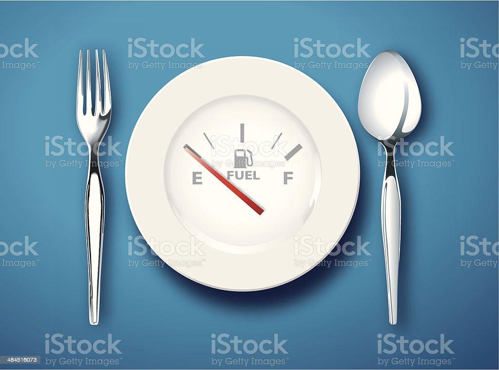 food is fuel vector art illustration