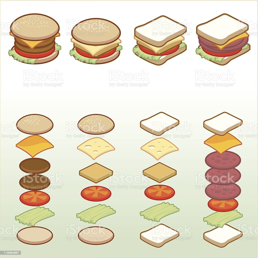 Food - Isometric Sandwich Icons 01 royalty-free stock vector art