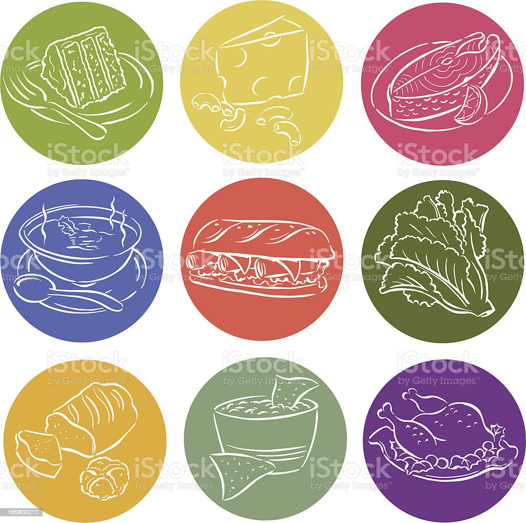 Food Labels - Sandwich, Salsa, Salmon vector art illustration