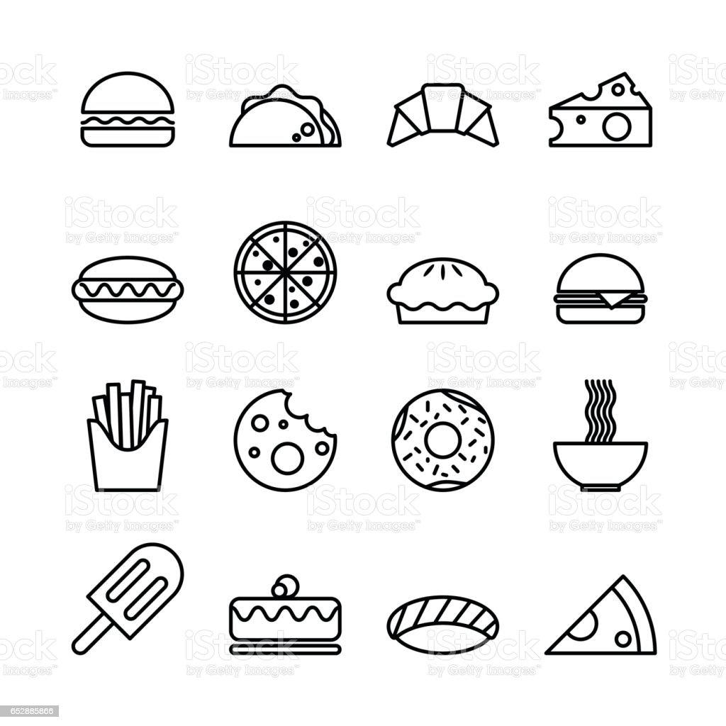 Food line icons set isolated on white background vector art illustration
