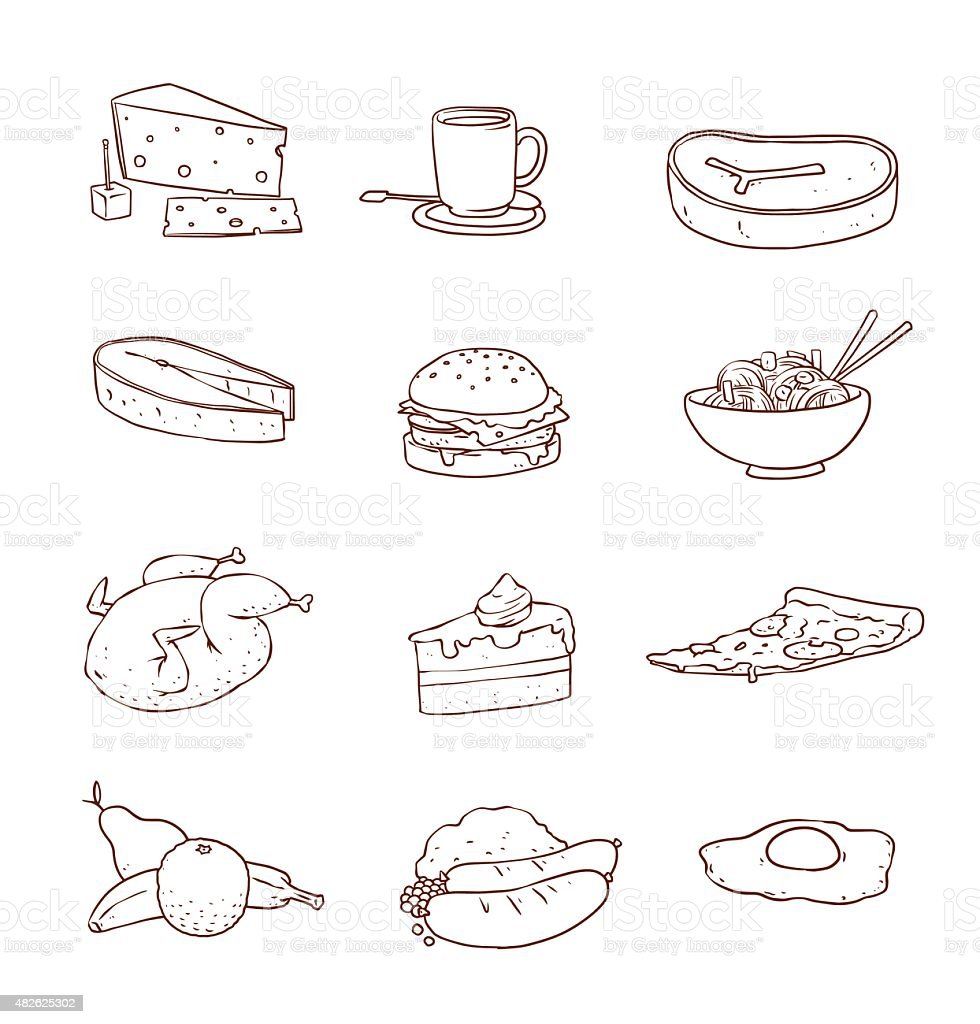 Food line set vector art illustration