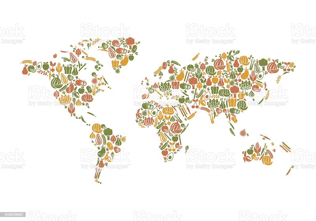Food map vector art illustration