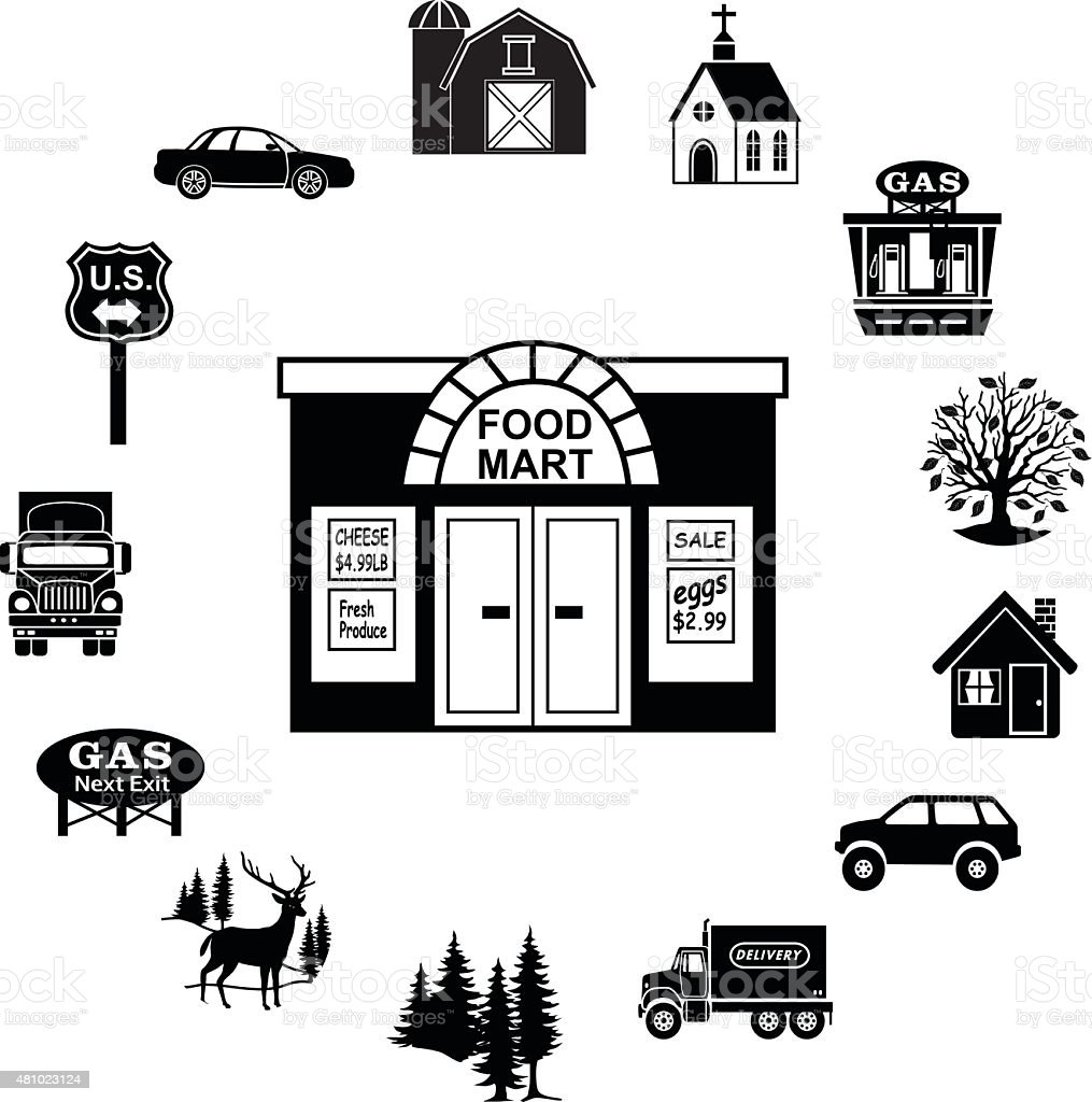 food market surrounded by rural constryside icon border vector art illustration