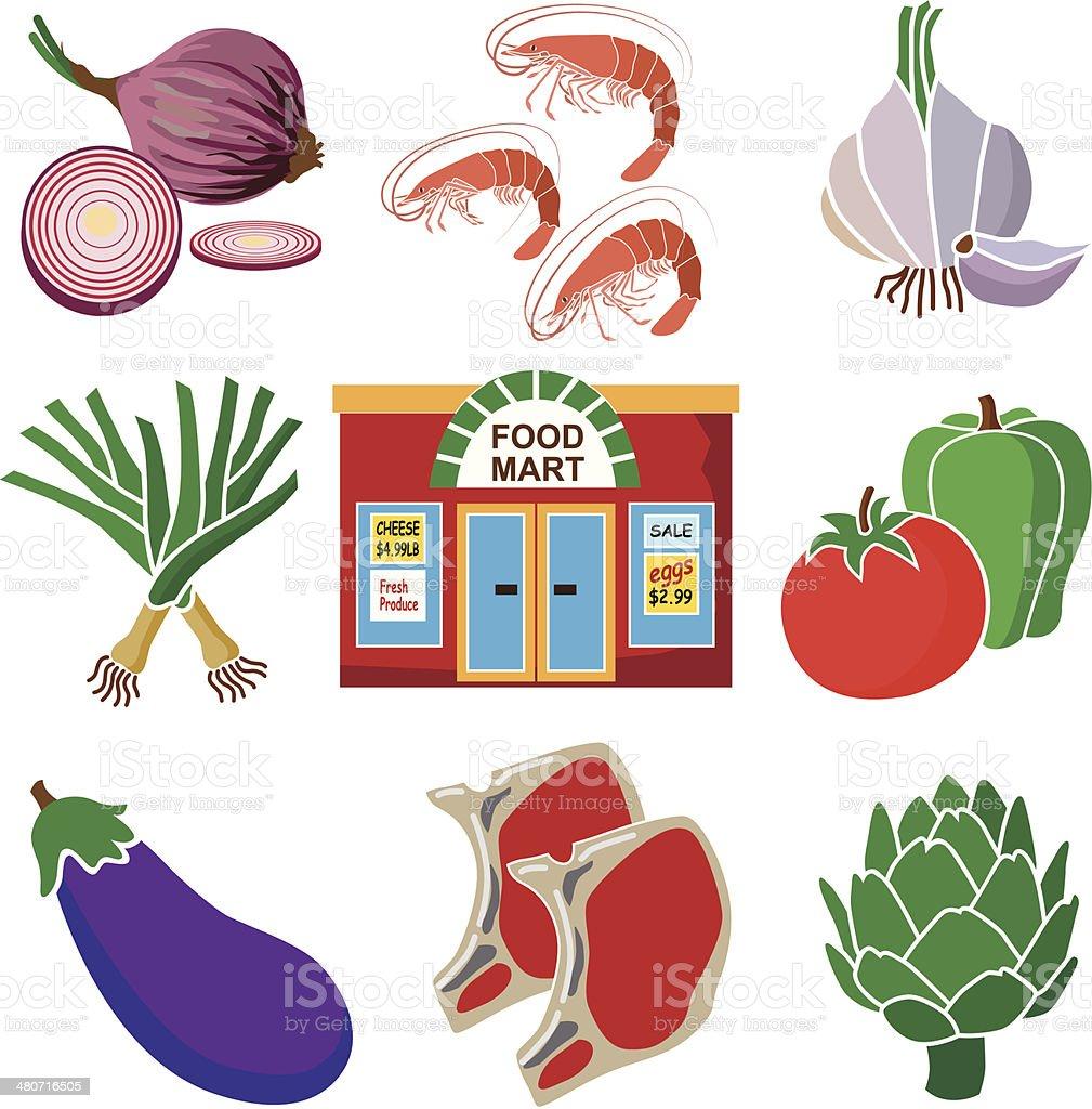 food mart healthy eating vector art illustration