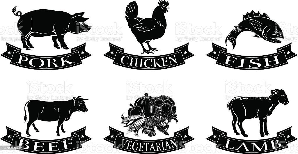 Food menu labels vector art illustration