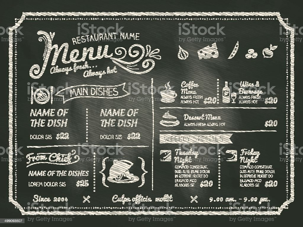 Food menu written on black chalk board vector art illustration
