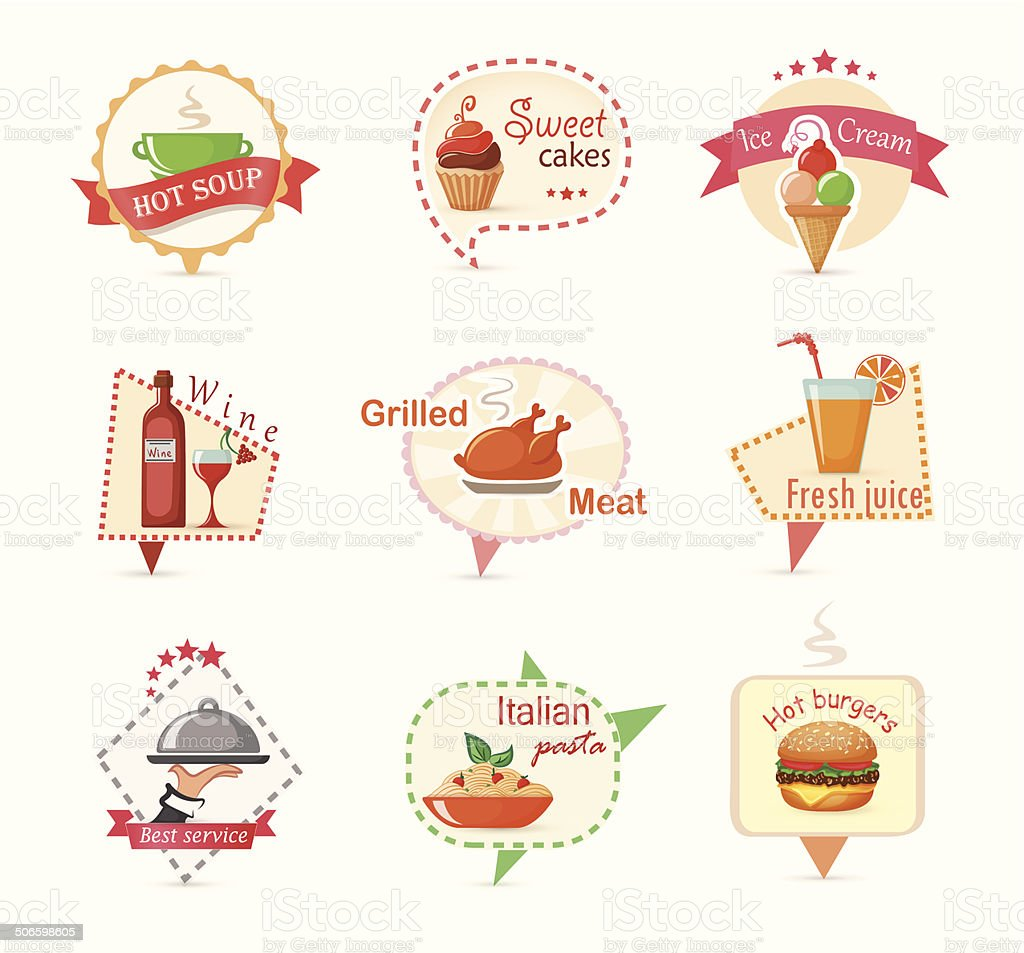 Food modern labels royalty-free stock vector art