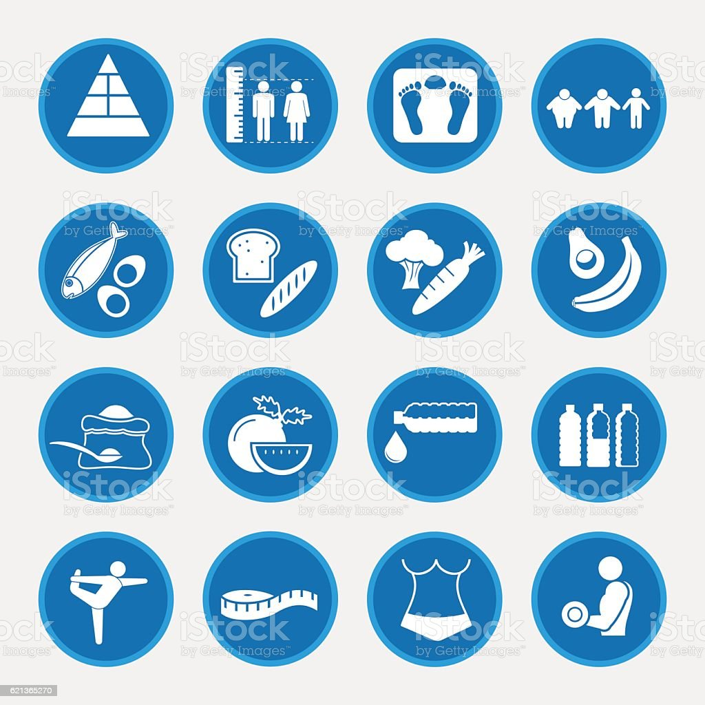 Food nutrition and diet icon set vector art illustration
