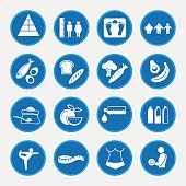 Food nutrition and diet icon set