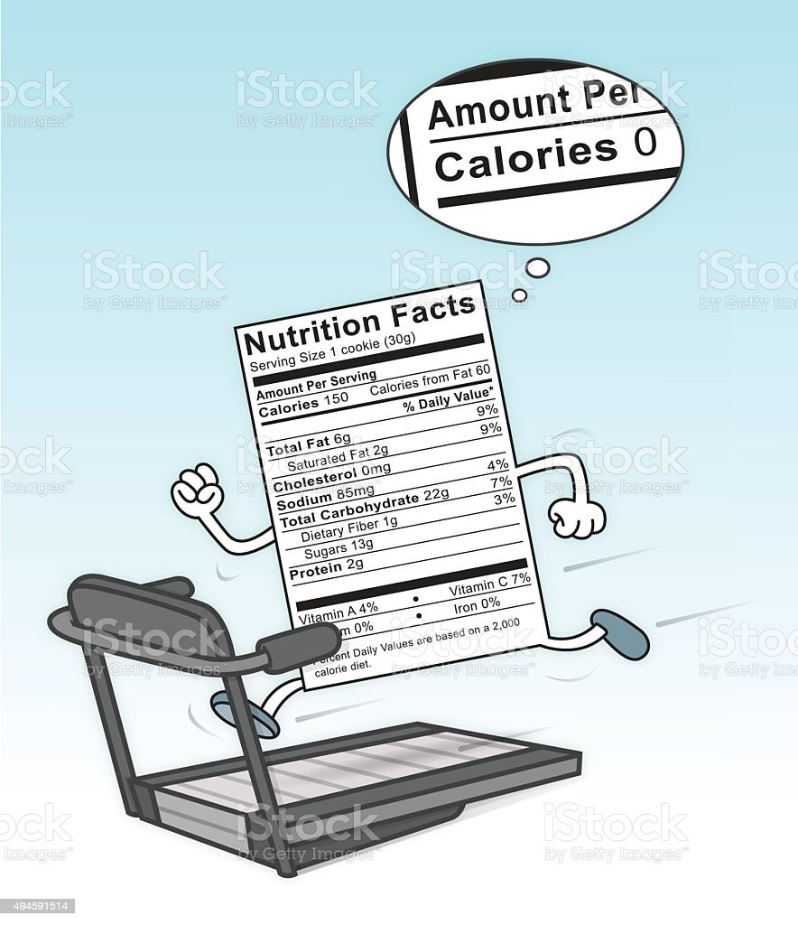 Food Nutrition Label on a treadmill burning calories vector art illustration