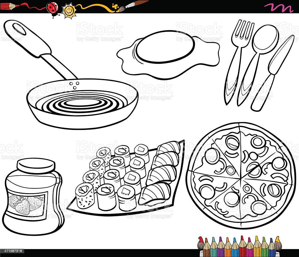 food objects set coloring page vector art illustration