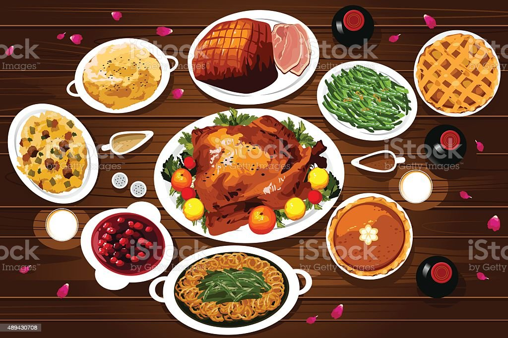 Food of Thanksgiving Dinner vector art illustration