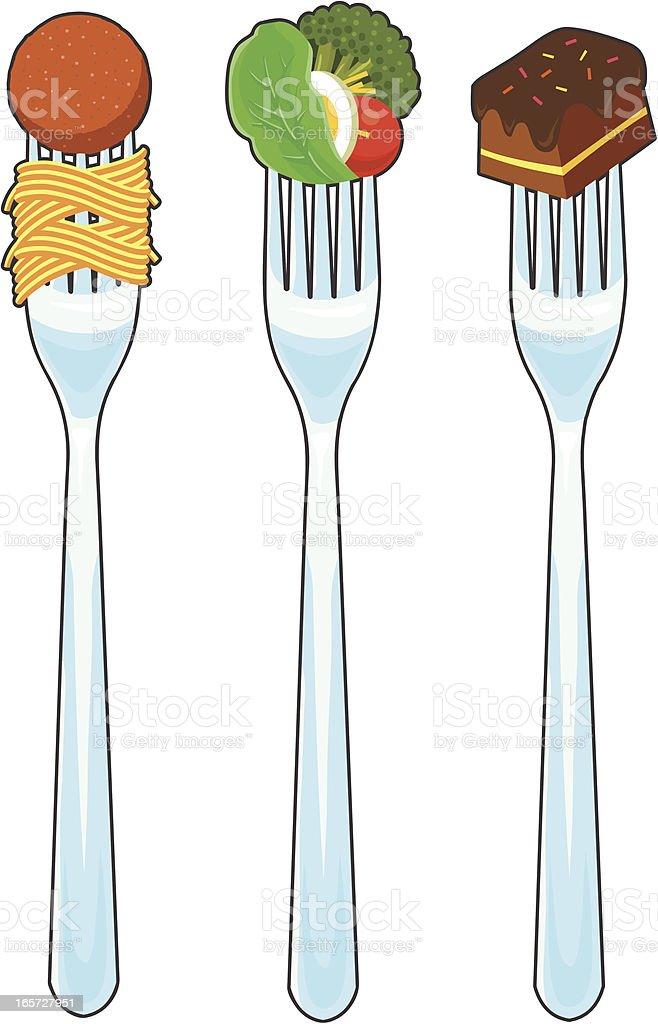 Food on Forks vector art illustration