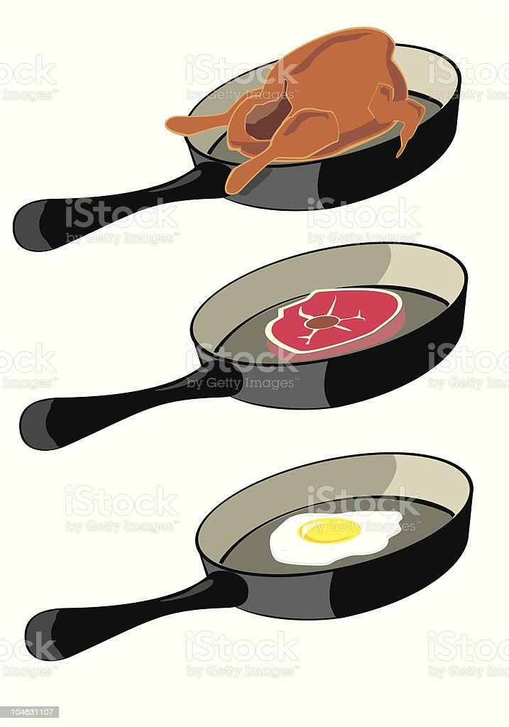 Food on frying pan vector art illustration