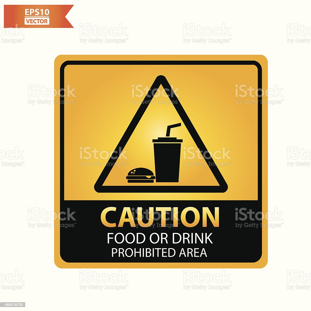 Food or drink prohibited area text and sign. royalty-free stock vector art