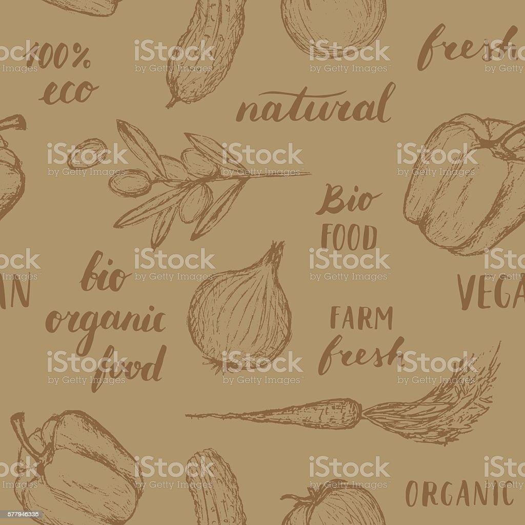 Food pattern. vector art illustration