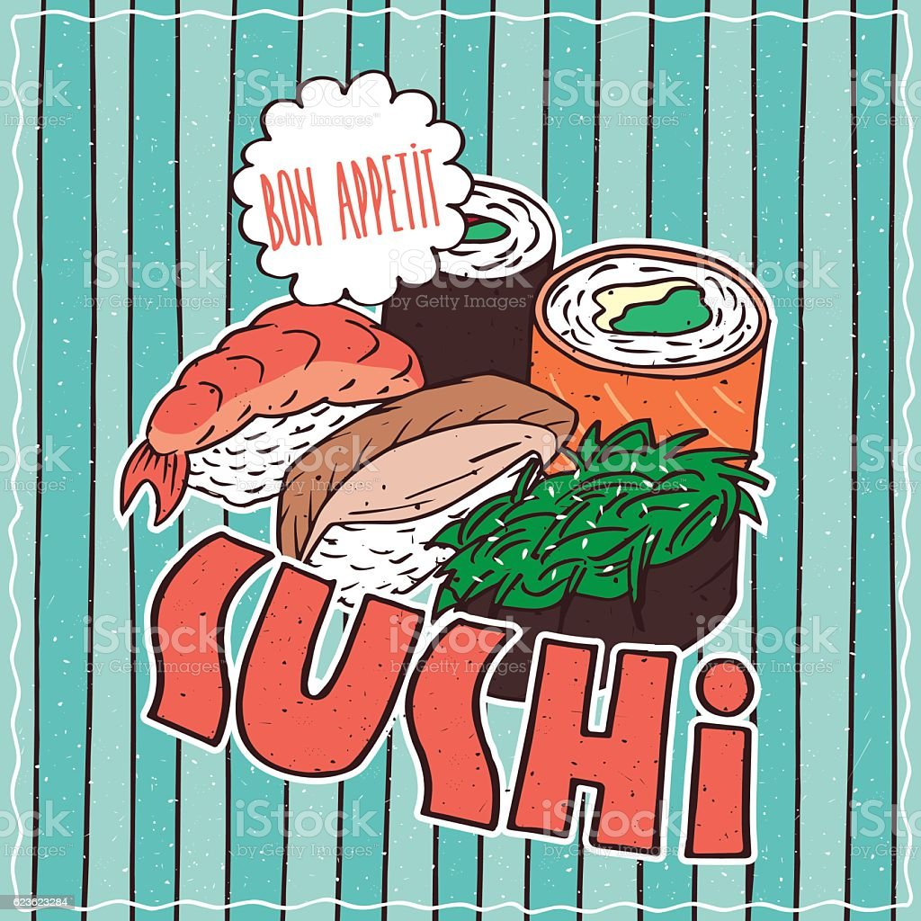 Food poster with Sushi vector art illustration