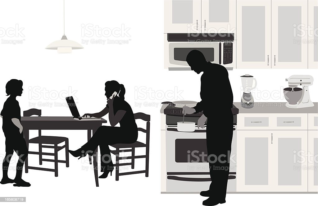 Food Prep Vector Silhouette royalty-free stock vector art