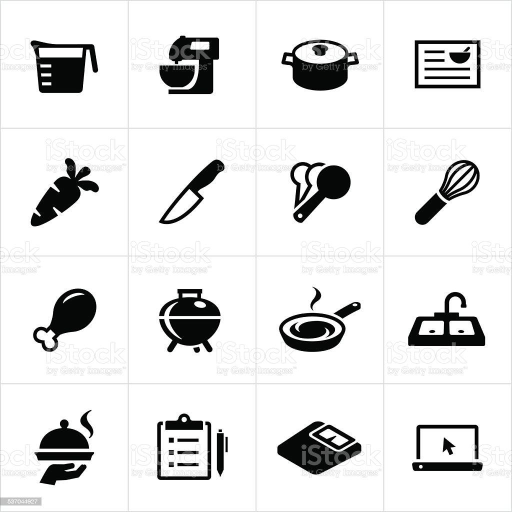 Food Preparation Icons vector art illustration