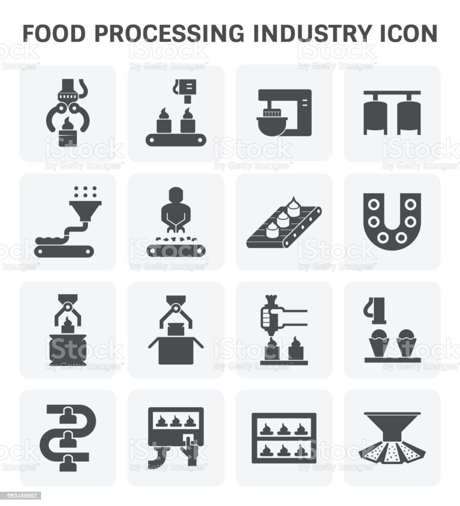 Food processing icon vector art illustration