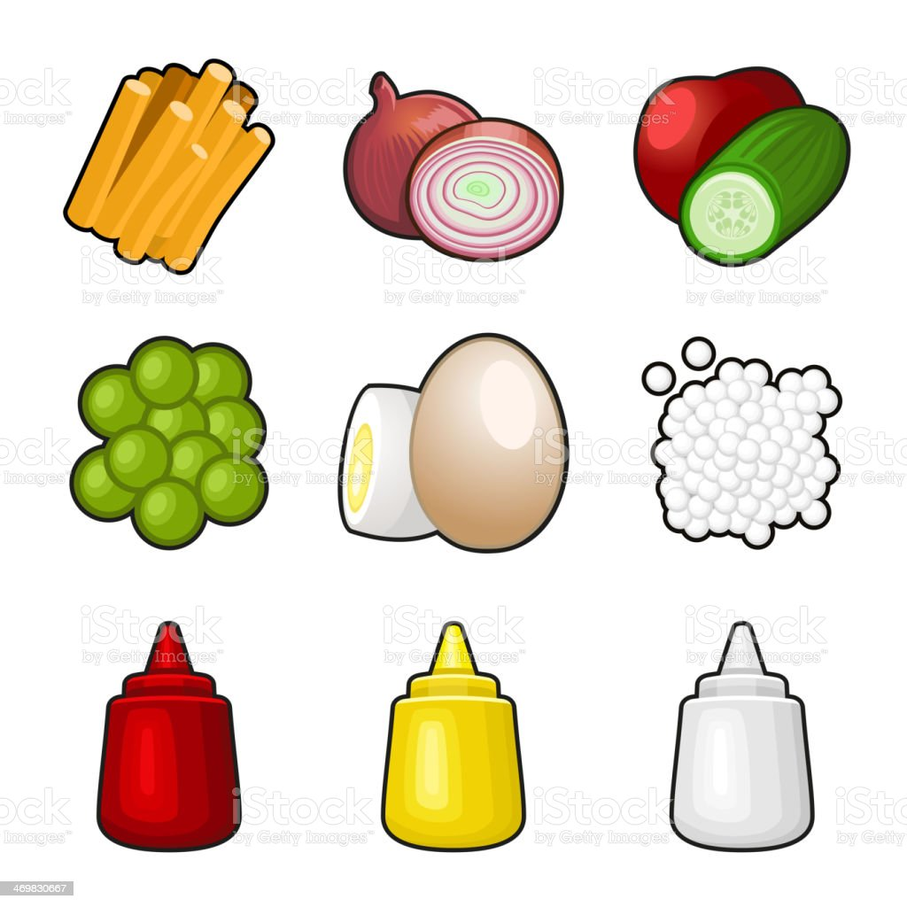 Food products icon set royalty-free stock vector art