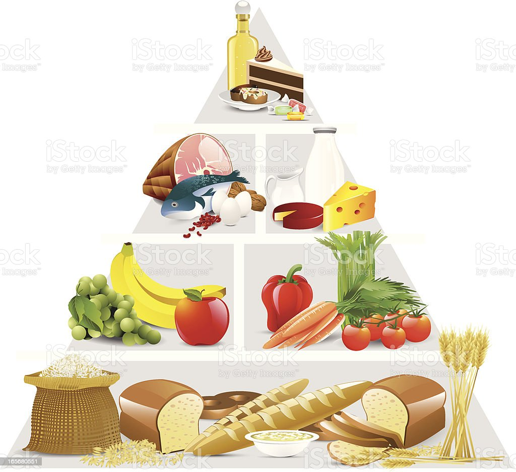 Food pyramid showing groups of food in order on white back vector art illustration