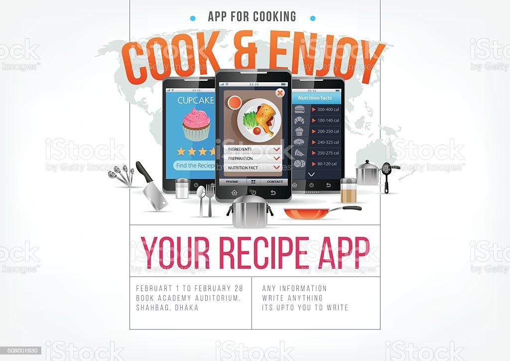 Food recipe app design vector art illustration