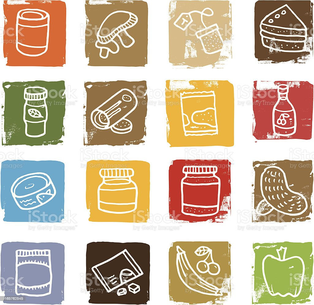 Food related grunge block icon set royalty-free stock vector art