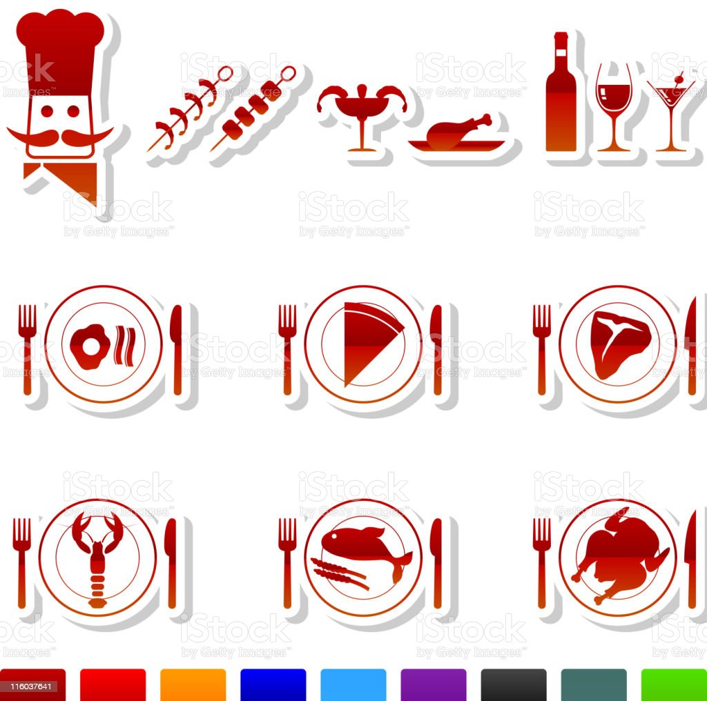 food royalty free vector icon set in nine colors vector art illustration