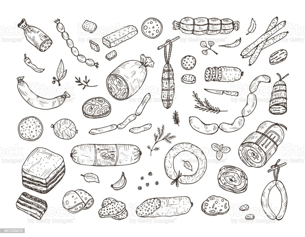 Food. Sausages set. Hand drawn doodle Meat products: Ready sausage, bacon, sliced saveloy, sausage, spicy pepperoni, smoked sausages, stick of salami, baked meatloaf, frankfurters vector art illustration