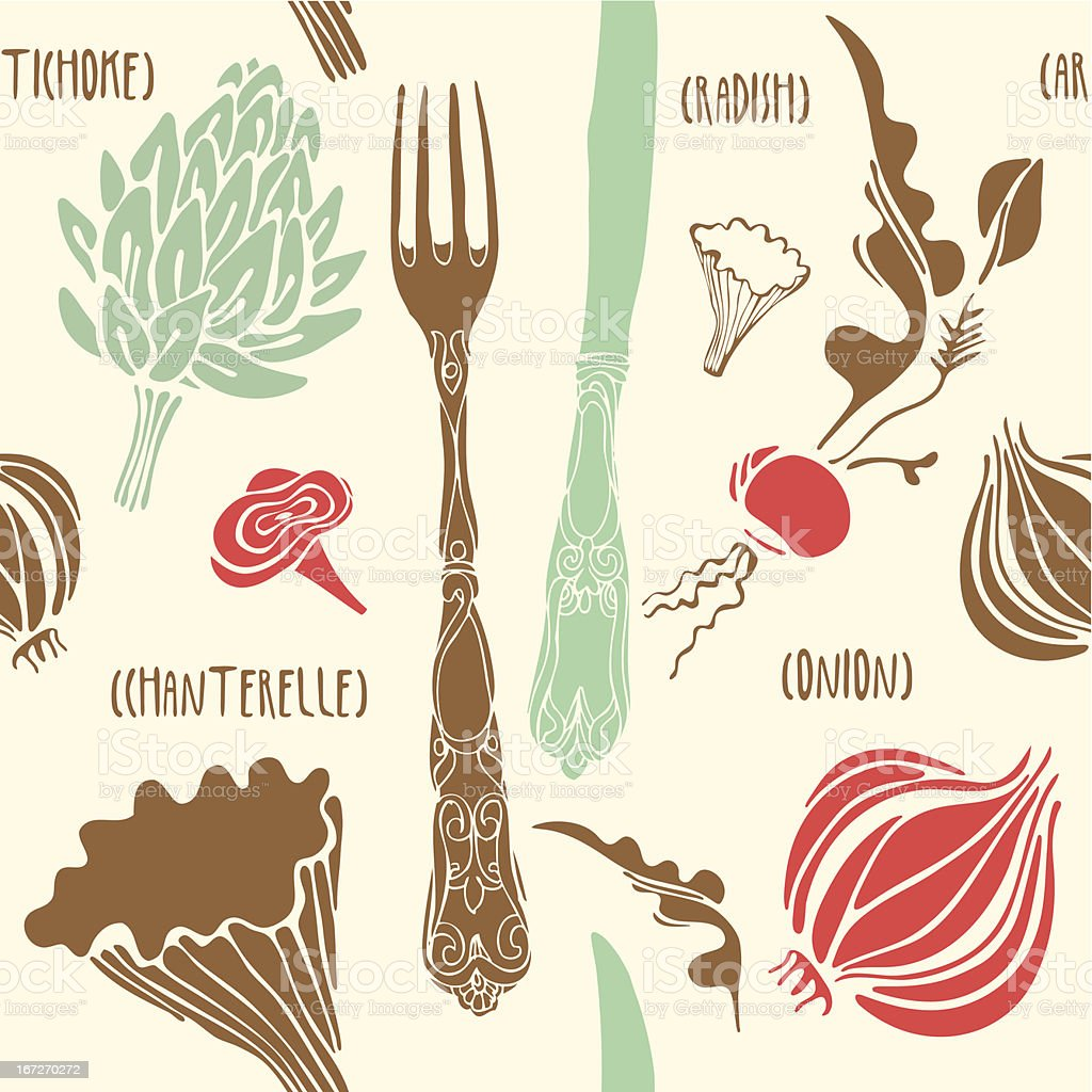 Food seamless doodles pattern. royalty-free stock vector art