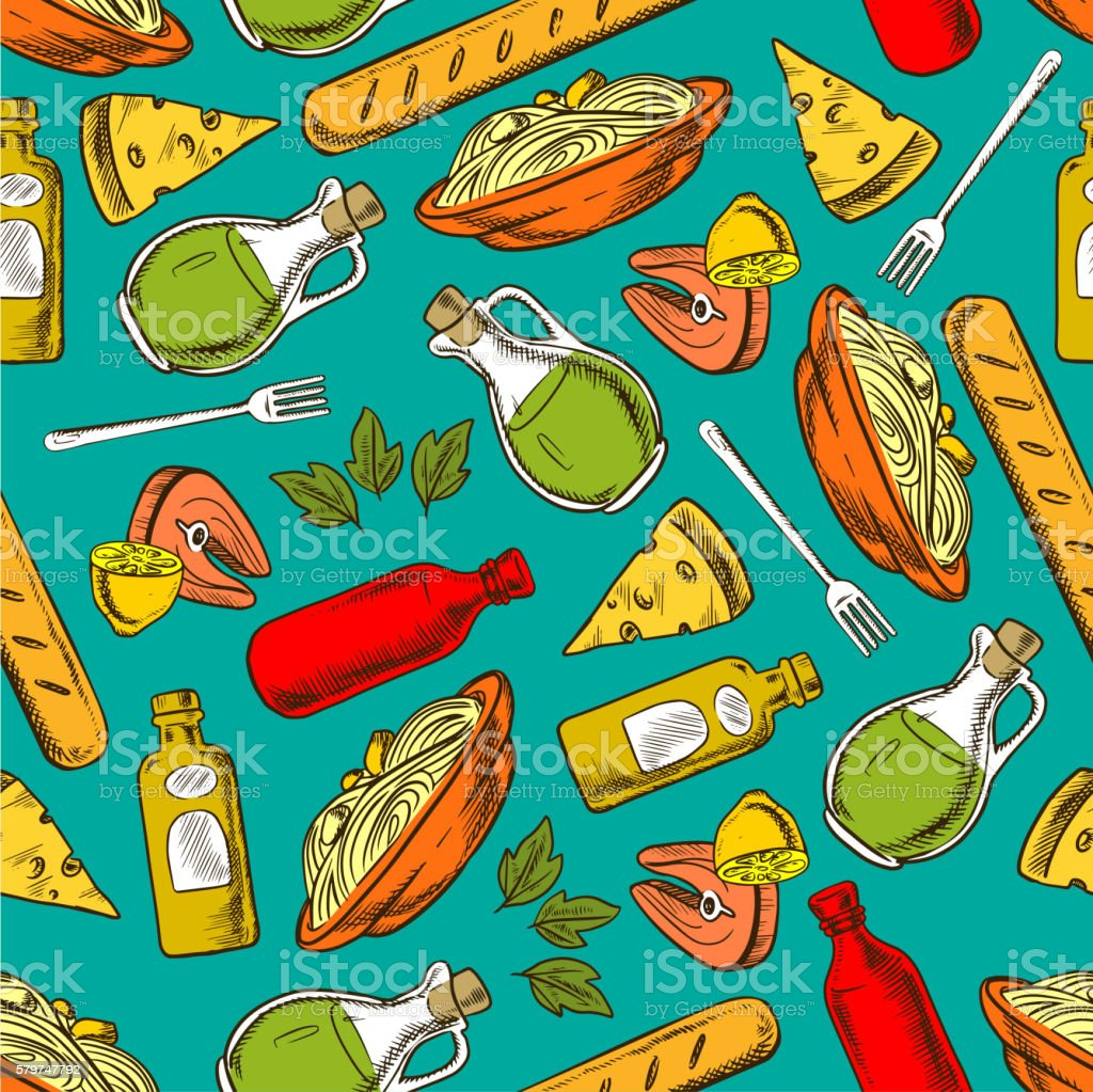 Food seamless pattern background. Meal and spices vector art illustration