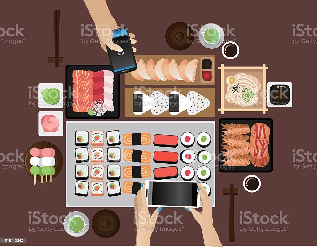 Food selfies vector art illustration