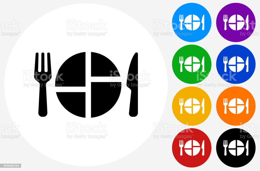 Food Serving Icon on Flat Color Circle Buttons vector art illustration